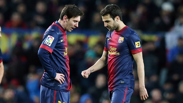 Cesc and Messi during the match. PHOTO: MIGUEL RUIZ - FCB
