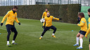 Piqué, Iniesta and Puyol in a training session PHOTO: ARXIU FCB