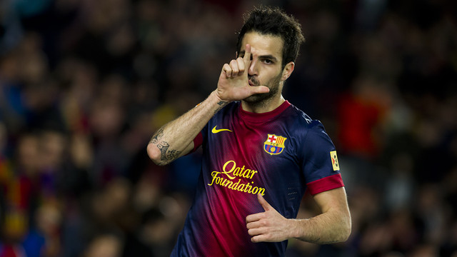 Cesc scores against Mallorca / PHOTO: ÁLEX CAPARRÓS - FCB