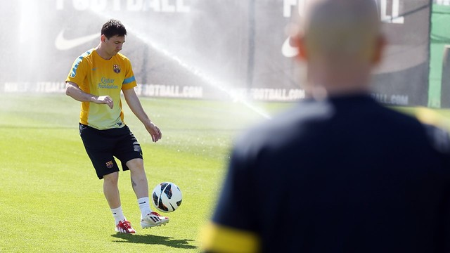 Leo Messi in a training session