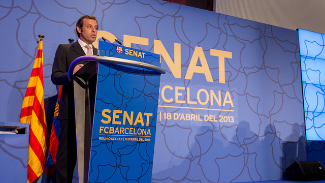 President Sandro Rosell attended the meeting of the FC Barcelona Senate / PHOTO: GERMÁN PARGA – FCB
