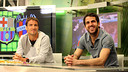 Cesc Fàbregas, on the stage of ''El Marcador' on Barça TV next to tennis player Tommy Robredo / FOTO: MIGUEL RUIZ - FCB