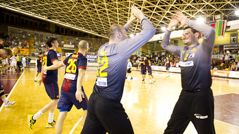 Saric i Sterbik Campions de Lliga Ademar Len FCB Intersport / FOTO: LEX CAPARRS - FCB