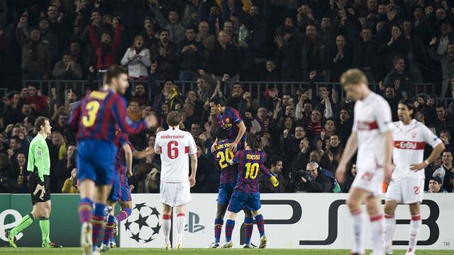 Victòria contra l'Stuttgart al Camp Nou. FOTO: MIGUEL RUIZ-FCB.