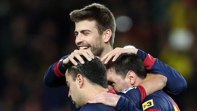 Piqué, Xavi and Messi in a match / PHOTO: MIGUEL RUIZ-FCB
