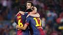 Els jugadors, celebrant un gol. FOTO:MIGUEL RUIZ - FCB