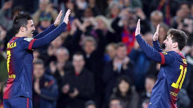 Villa and Messi celebrating a goal PHOTO: MIGUEL RUIZ - FCB