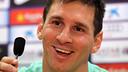 Leo Messi in a press conference