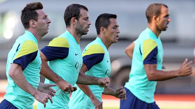 Messi, Mascherano, Alexis and Montoya / PHOTO: MIGUEL RUIZ - FCB