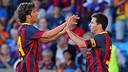 Sergi Roberto and Messi celebrate one of the goals / PHOTO: MIGUEL RUIZ-FCB