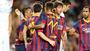 Messi and Neymar celebrate the fifth goal, scored by Cesc / PHOTO: MIGUEL RUIZ-FCB