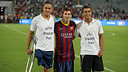 Leo Messi, with youngsters from Israel and Palestine / PHOTO: MIGUEL RUIZ-FCB