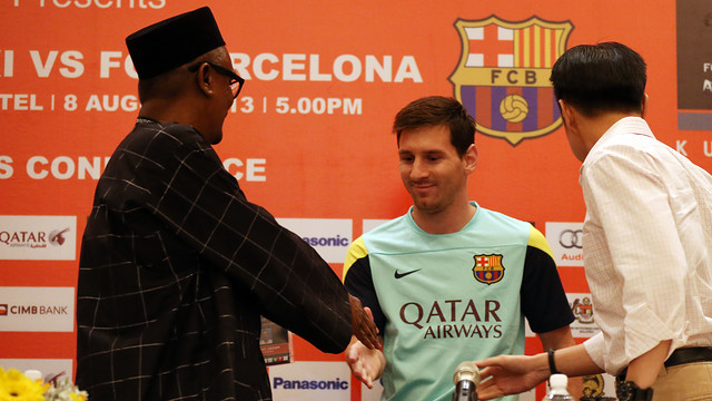 Messi, before his press conference in Kuala Lumpur / PHOTO: MIGUEL RUIZ-FCB