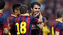 Cesc celebrates scoring in Malaysia / PHOTO: MIGUEL RUIZ - FCB
