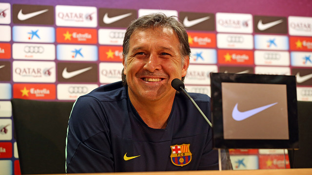 Gerardo 'Tata' Martino at Saturday's press conference. PHOTO: MIGUEL RUIZ-FCB.