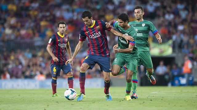 Busquets, during the league game against Levante at the Camp Nou