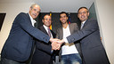 Zubizarreta, Rosell, Busquets and Bartomeu, after the signature / PHOTO: MIGUEL RUIZ-FCB