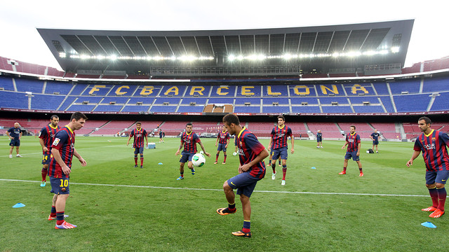 Messi during today's session / PHOTO: MIGUEL RUIZ-FCB
