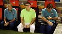 Tata Martino sitting next to Paolorroso and Pautasso / PHOTO: MIGUEL RUIZ - FCB
