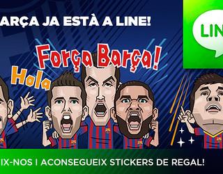 Disseny que informa de l'obertura del compte del FC Barcelona a LINE