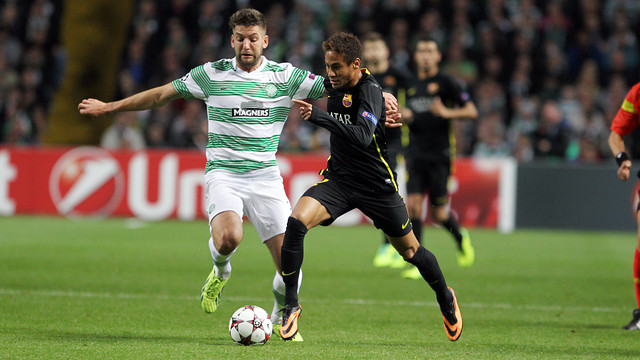 Neymar Jr during the match at Celtic Park / PHOTO: MIGUEL RUIZ-FCB