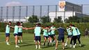 Els jugadors, durant un exercici d'aquest dimecres / FOTO: MIGUEL RUIZ-FCB
