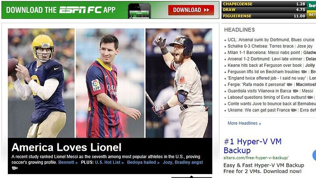 ESPN's cover featuring Messi