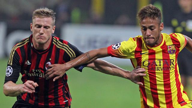 Neymar Jr, durant el partit a Milà / FOTO: MIGUEL RUIZ-FCB