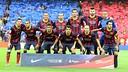 Fotografía del once titular del Barça