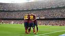 L'equip celebra un gol contra el Madrid / FOTO: MIGUEL RUIZ-FCB