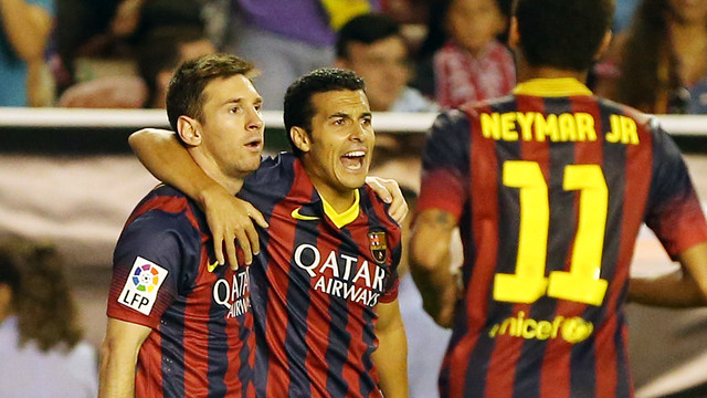 Messi, Pedro and Neymar Jr celebrate a goal / PHOTO: MIGUEL RUIZ-FCB