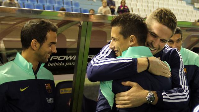 Abraçada de Fontàs a Tello / FOTO: MIGUEL RUIZ - FCB