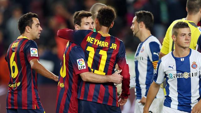 Neymar i Messi, al final del derbi. FOTO: MIGUEL RUIZ-FCB.