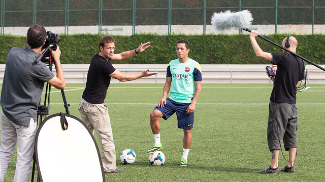 Adriano, during the filming of the ad to launch the FC Barcelona Portuguese web / PHOTO: GERMÁN PARGA - FCB