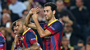 Sergio Busquets celebrating his goal against Milan.  / PHOTO: MIGUEL RUIZ-FCB