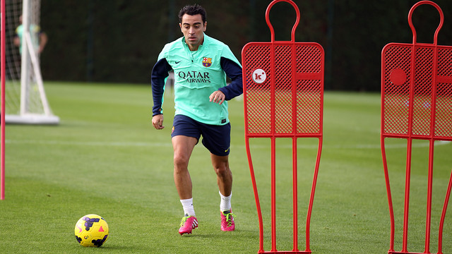 Xavi was among the players that trained this morning / PHOTO: FCB ARCHIVE