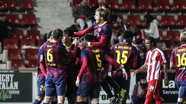 Barça B players celebrate the second goal at the Montilivi