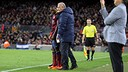 Adama Traoré receives instructions from Carles Naval before going on
