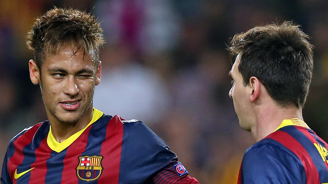 Neymar and Messi during the Champions League game with AC Milan / PHOTO: MIGUEL RUIZ - FCB