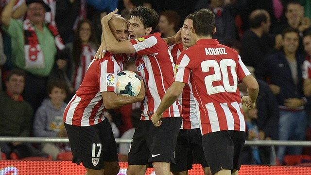 The Bilbao players celebrate scoring a goal in their new stadium
