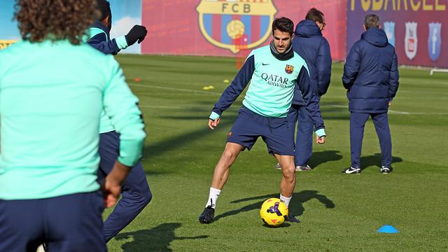 Cesc during Friday's training session. PHOTO: MIGUEL RUIZ-FCB.