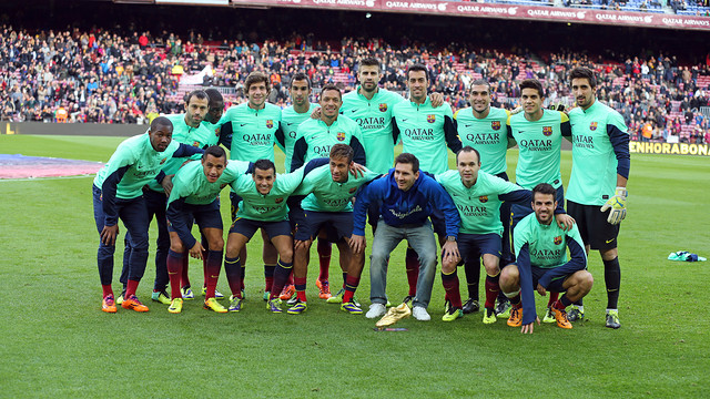 Messi and his team-mates on the day the Golden Ball was presented to the Camp Nou
