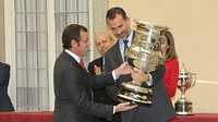 Sandro Rosell receives the Copa Stadium from Prince Felipe at the Palacio del Prado in Madrid