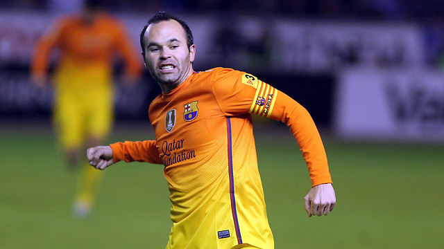 Andrés Iniesta about to punch the air in a goal celebration last season away to Alavés