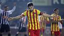 Cesc Fàbregas celebrating his goal against Cartagena / PHOTO: MIGUEL RUIZ – FCB