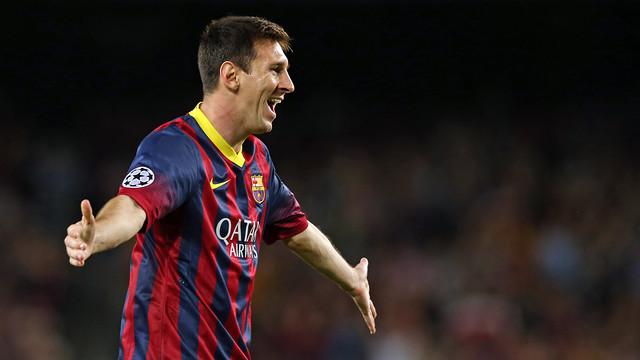 Leo Messi celebra un dels seus gols contra l'Ajax / FOTO: ARXIU FCB