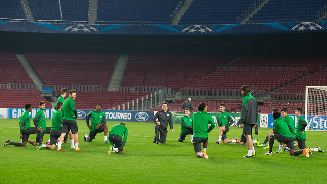 Celtic train at the Camp Nou