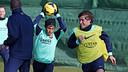 Neymar i Sergi Roberto, a l'entrenament d'aquest divendres / FOTO: MIGUEL RUIZ - FCB
