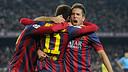 The players celebrating Neymar's goal against Villarreal / PHOTO: MIGUEL RUIZ - FCB