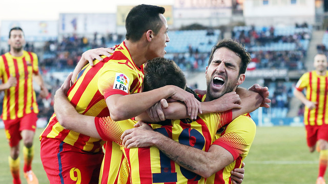 The players celebrate a goal in Getafe